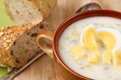 Dill soup with egg and potatoes Stock Images