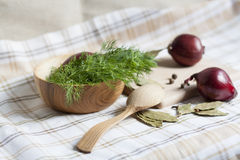 Dill and spices. Red onions in a wooden bowl stock photography