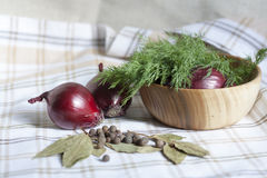 Dill and spices. Red onions in a wooden bowl stock photos