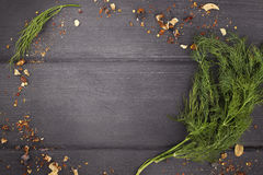 Dill  on  wood background. Top view with copy space. Dill bunch on  wood background. Top view with copy space Stock Photography