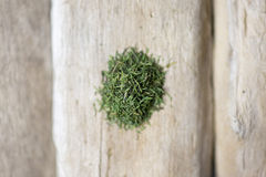 Dill on wood. Dill leaves on wooden driftwood Royalty Free Stock Photography
