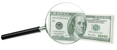 Dillars 100 lens. Lens (magnifying glass) behind the front Dollars royalty free stock photos