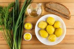 Dille, groene ui, zout, peper, fles plantaardige olie, brood, aardappelen in de schil in plaat op lijst Hoogste mening royalty-vrije stock afbeelding