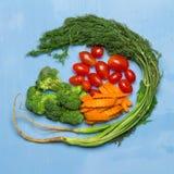 dilled Dziecko pomidory marchew brokuły na drewnianym niebieskiego nieba backgrou obrazy stock