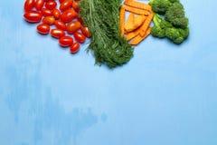 dilled Dziecko pomidory marchew brokuły na drewnianym niebieskiego nieba backgrou obrazy royalty free