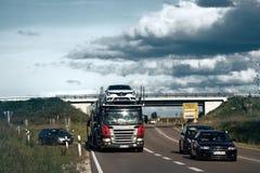 German truck on autobahn royalty free stock image