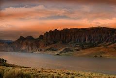 Dillon Pinnacles Colorado på solnedgången royaltyfri fotografi