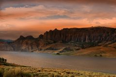 Dillon Pinnacles, Colorado at sunset. Dillon Pinnacles, slowly uplifted landscape million years ago in Gunnison, Colorado, USA the Curecanti National Recreation royalty free stock photography