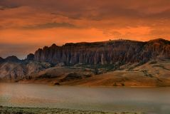 Dillon Pinnacles at sunset. Dillon Pinnacles, slowly uplifted landscape million years ago in Gunnison, Colorado, USA the Curecanti National Recreation Area stock image