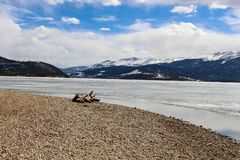 Dillon Reservoir in Dillon, Colorado. This large fresh water reservoir is sometimes referred to as Lake Dillon. This photo was taken during Winter. The stock image
