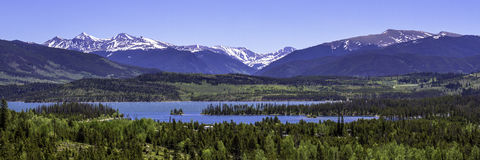 Dillon Reservoir in Colorado. Panorama of The Summit and Dillon Reservoir near Silverthorne in June Stock Photos