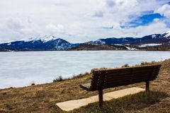 Frozen but extremely scenic and serene Lake Dillon in early spring, Colorado, USA. Dillon Reservoir, sometimes referred to as Lake Dillon, is a large fresh water stock photos
