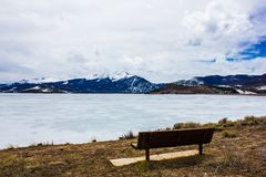 Frozen but extremely scenic and serene Lake Dillon in early spring, Colorado, USA. Dillon Reservoir, sometimes referred to as Lake Dillon, is a large fresh water stock images