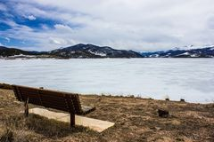 Frozen but extremely scenic and serene Lake Dillon in early spring, Colorado, USA. Dillon Reservoir, sometimes referred to as Lake Dillon, is a large fresh water royalty free stock photo