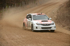 Dillon Van Way driving during competition in Rally America Stock Photo