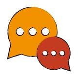 Diálogo da conversa da bolha do desenho que conversa meios sociais Fotos de Stock