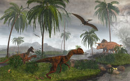 Dilophosaur på waterholen Vektor Illustrationer