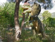 Dilophosaurus- Early Jurassic/ 200-190 million years ago. In th stock images