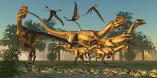 Dilophosaurus Hunt Stock Image