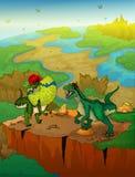 Dilophosaurus y rapaz con el fondo del paisaje Fotos de archivo libres de regalías