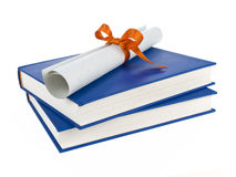 Dilploma and books royalty free stock photo