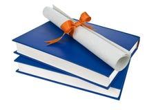 Dilploma and books Stock Photos