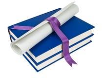 Dilploma und Bücher stockbilder