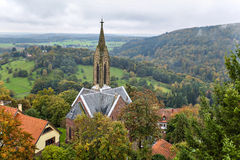 Dilsberg , Germany , view of the town hall. In the background hills Stock Images