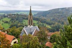 Dilsberg Tyskland, sikt av stadshuset Arkivbilder