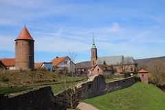 Dilsberg Village ancient city walls. Dilsberg is a 1000 year old little medieval town that is surrounded by a city-wall. Germany Stock Images