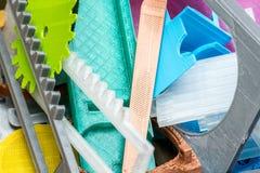 Dilua a engrenagem impressa 3D verde com camadas visíveis de plástico que é sustentável Foto de Stock Royalty Free