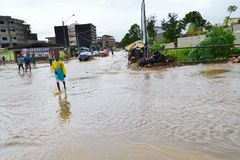 Diluvial rains: identified risk zones in Abidjan royalty free stock image