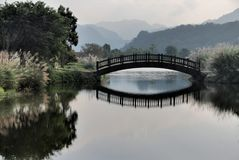 Dim dusk lake and bridge Royalty Free Stock Photos