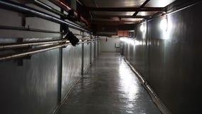 Dim light glowing in dark underground corridor