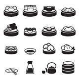 Dim sum & ícones japoneses do alimento Fotos de Stock Royalty Free