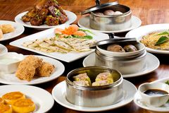 Dim Sum. A table filled with delicious Chinese Dim Sum plates including dumplings, flat bread, cake, meat balls and more Royalty Free Stock Image