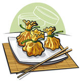Dim sum. Chinese steamed dumplings at the plate Royalty Free Stock Photos