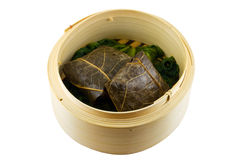 Dim Sum. Lotus leaf wrap dim sum, isolated in soild white background stock photos