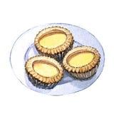 Dim sum asiatique de nourriture d'aquarelle, tarte douce illustration stock
