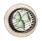 Dim sum asiatique de nourriture d'aquarelle, vue supérieure illustration stock
