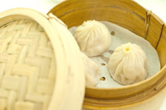 Dim sum in bamboo basket Royalty Free Stock Image