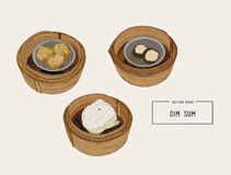 Dim sum colorful illustration. Vector illustration of Chinese cu. Dim sum in bamboo basket colorful illustration. Vector illustration of Chinese cuisine Stock Image