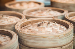 Dim sum bamboo basket Stock Photos