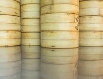 Dim sum bamboo baskets Royalty Free Stock Photo