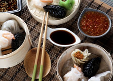 Dim Sum in Bamboo Bowls Royalty Free Stock Images