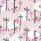 Dim sum and bamboo simple seamless vector pattern. Dim sum and bamboo pink seamless vector traditional pattern. Asian food background Stock Photos