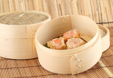 Dim Sum in Bamboo Steamed Bowl Stock Photos