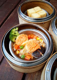 Dim sum in bamboo steamer Royalty Free Stock Photo