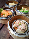 Dim sum in bamboo steamer Stock Image