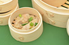 Dim sum bamboo steamer side detail Royalty Free Stock Photo